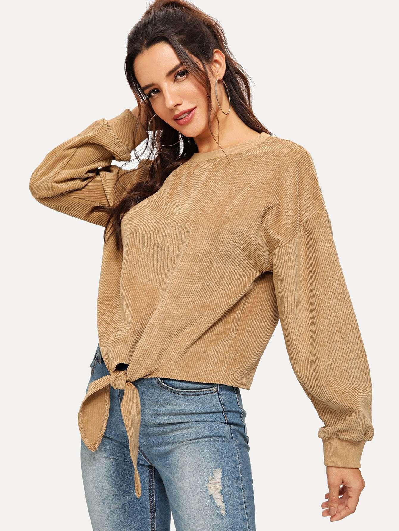 Купить Твердый пуловер с узлом, Juliana, SheIn
