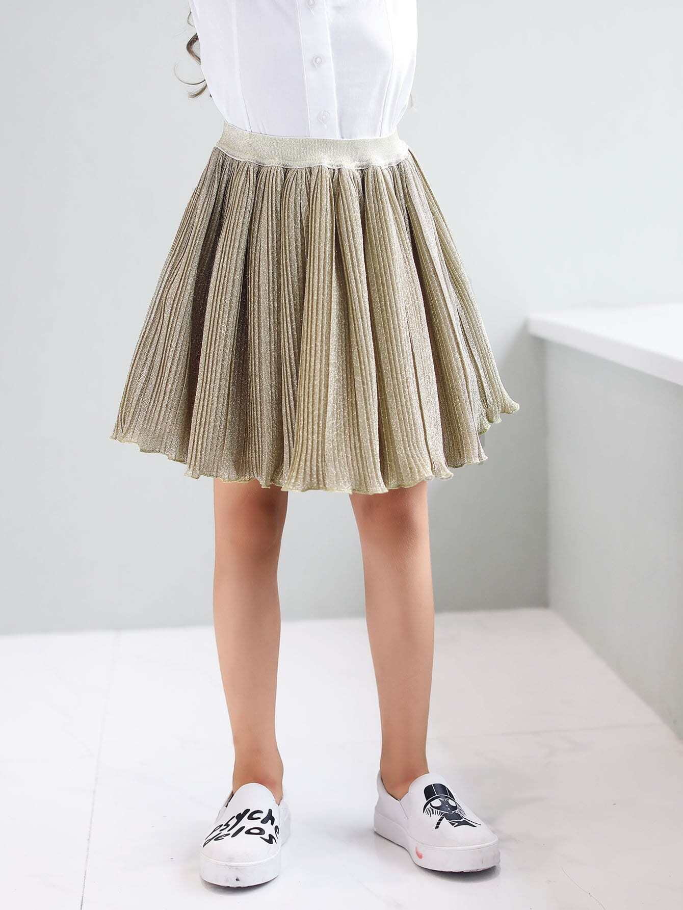 Купить Плиссированная простая юбка для малышских девочек, null, SheIn