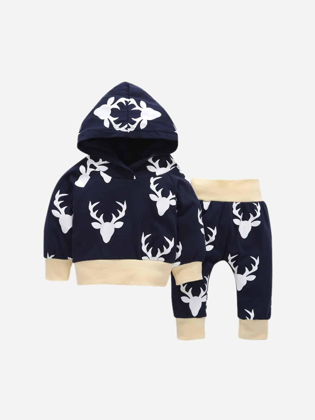 Купить Толстовка с капюшоном и принтом оленя и брюки для маленьких мальчиков, null, SheIn