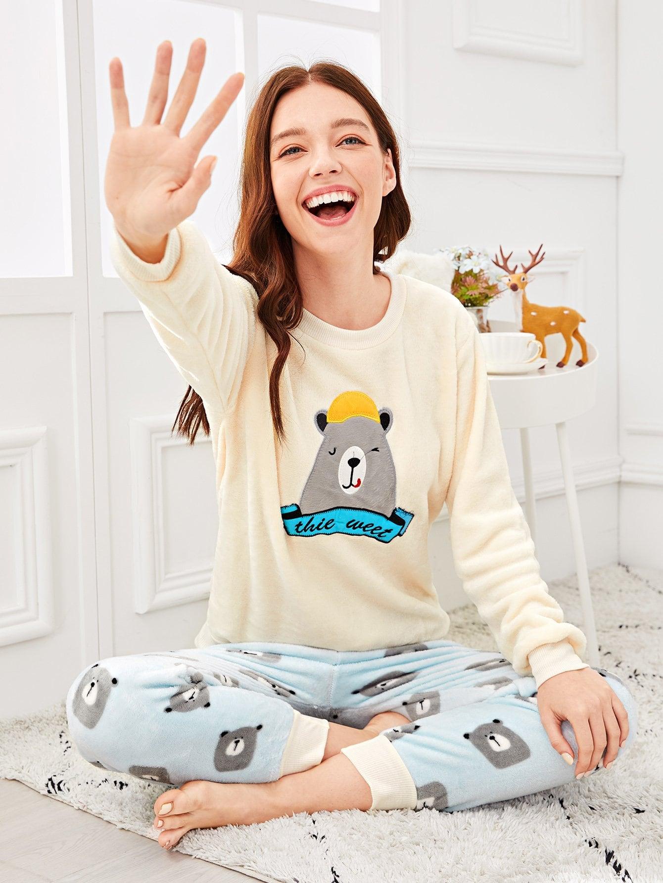 Купить Комплект бархатной пижамы с принтом вышитого медведя, Poly, SheIn