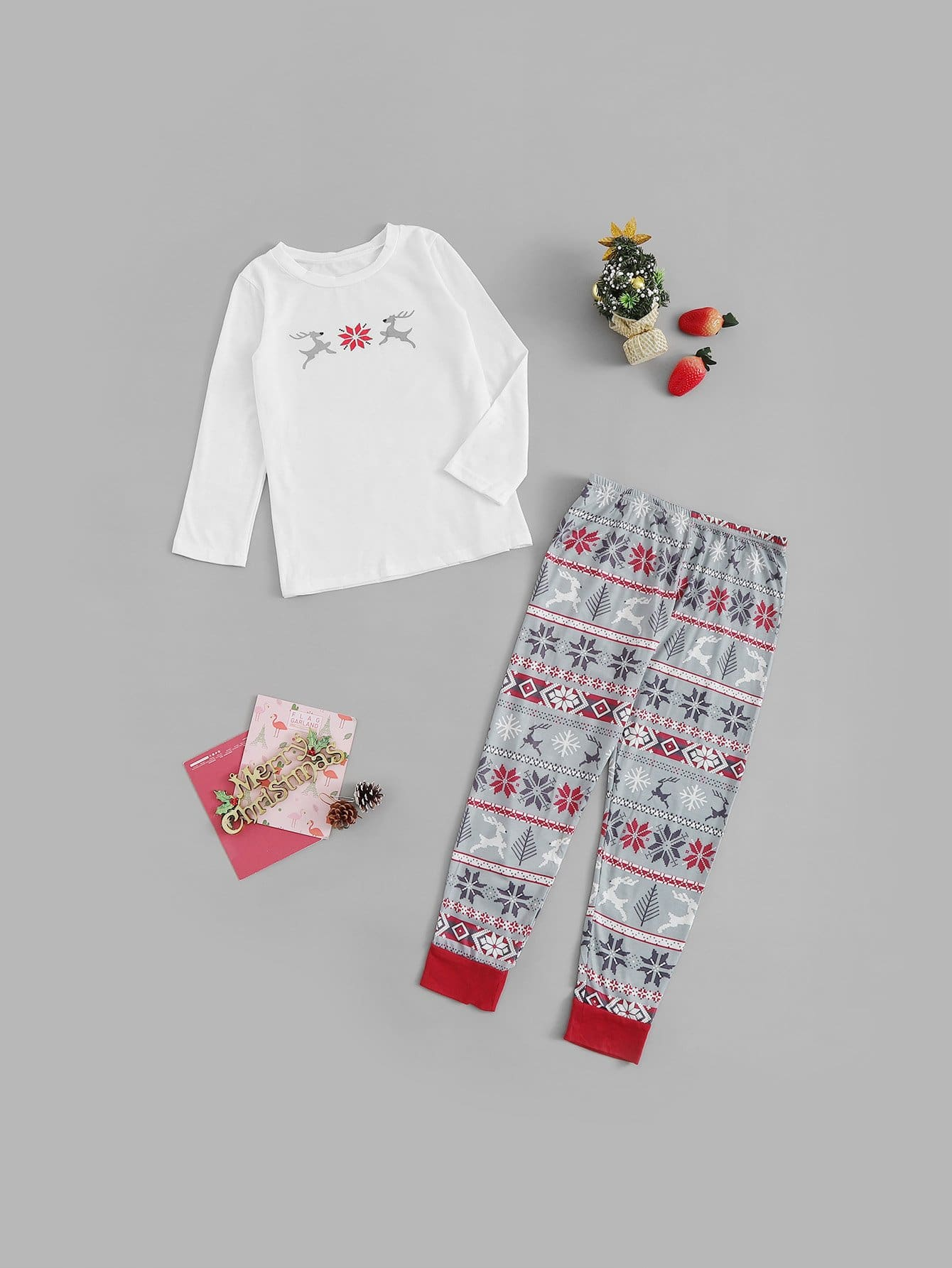 Купить Рождественский комплект пижамы с принтом оленя и снега для детей, null, SheIn