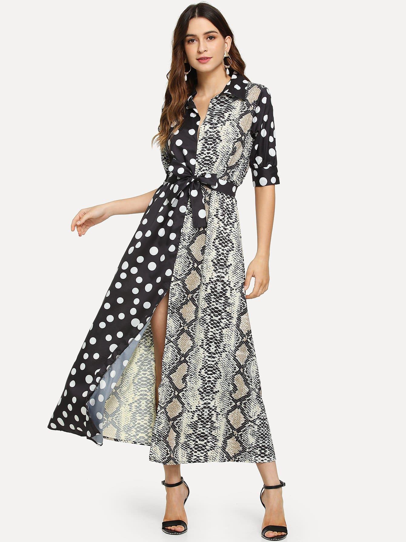 Купить Платье в горошек с поясом и принтом змеи, Jana, SheIn