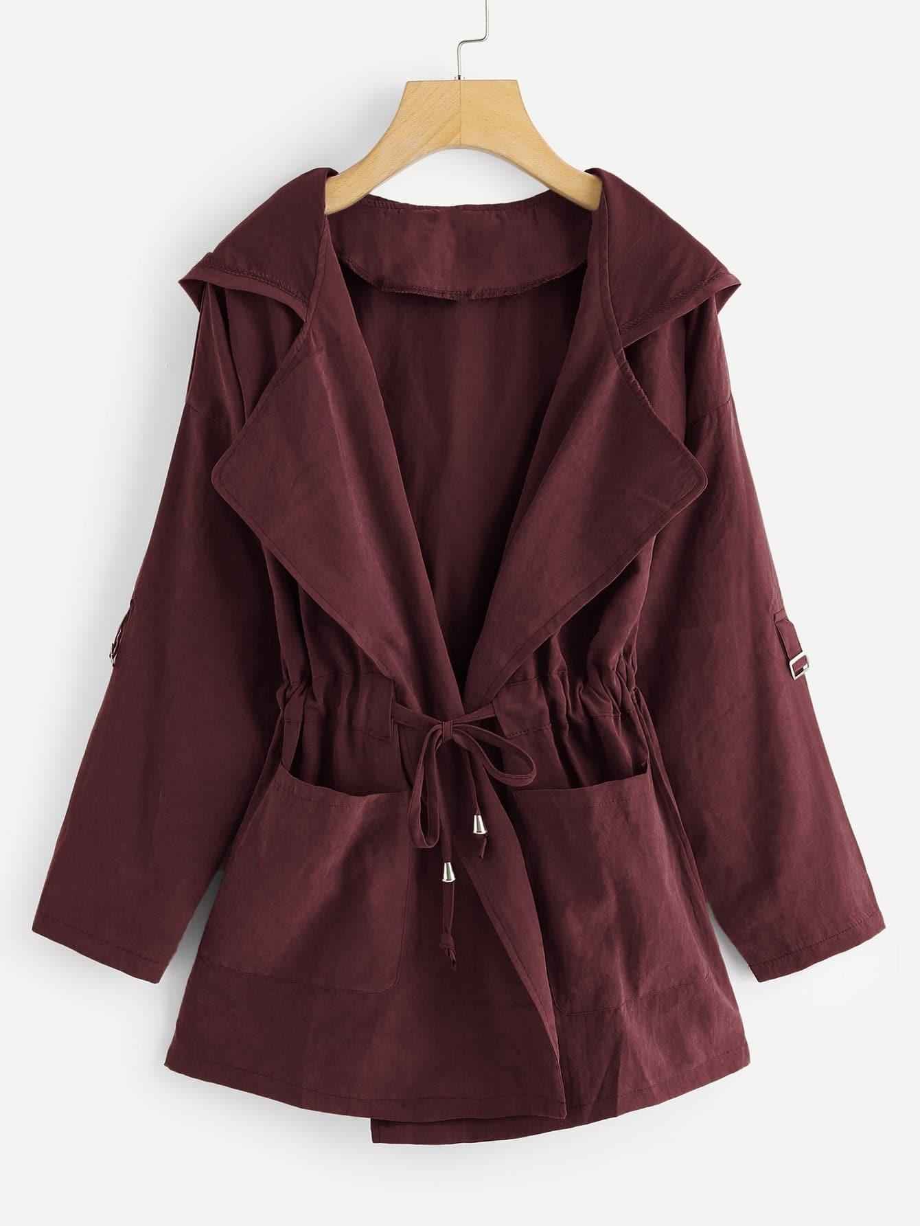 Фото - Большое пальто с капюшоном и бантом от SheIn цвет бургундия