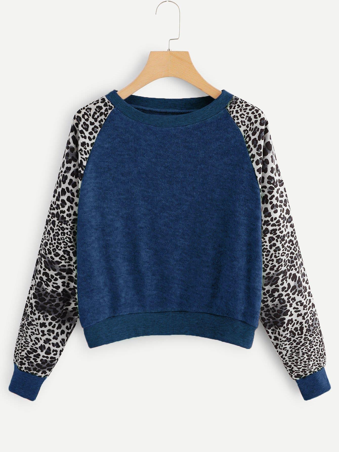 Купить Контрастный леопардовый свитшот, null, SheIn