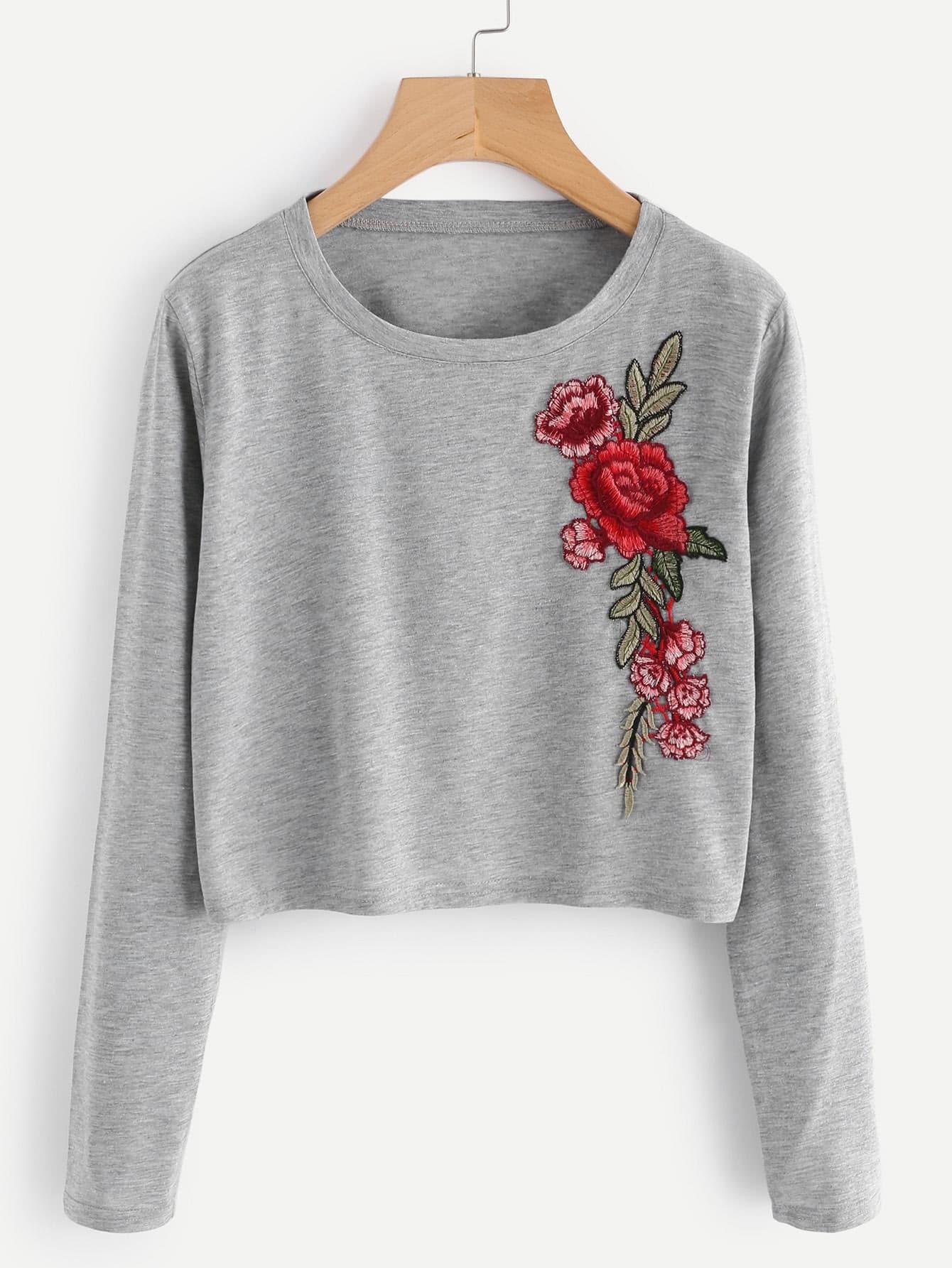 Купить Большая футболка с украшением цветов, null, SheIn