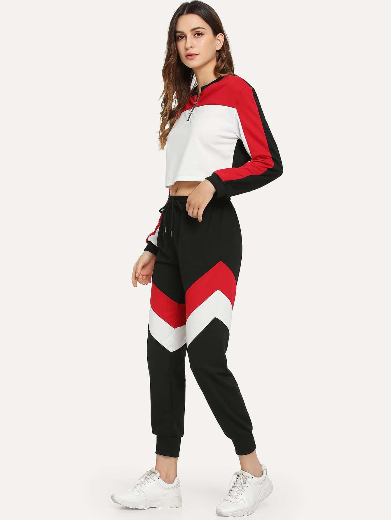 Фото - Блузу с застёжкой молния и брюки с контрастными полосами от SheIn цвет многоцветный