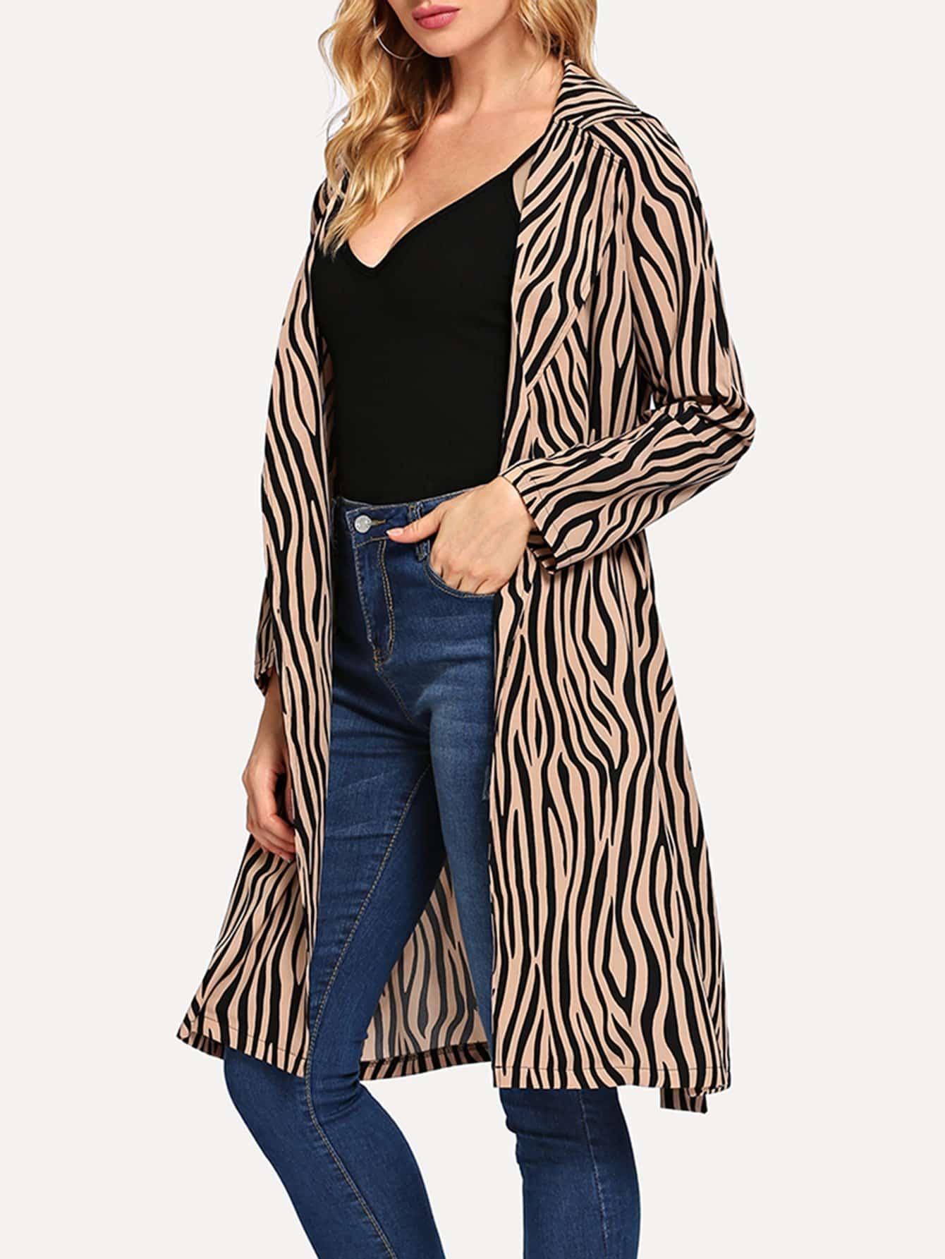 Купить Пальто с принтом зебры, Masha, SheIn