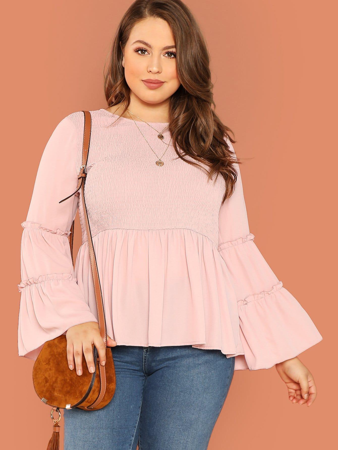 Купить Плюс размеры многоуровневое слой рукава блузка, Bailey Carr, SheIn