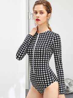 O-Ring Zip Front Houndstooth Bodysuit