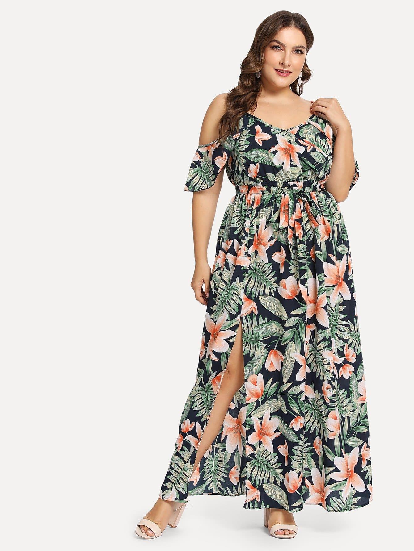 Купить Большое ситцевое платье с открытыми плечами и подол с вырезом, Franziska, SheIn