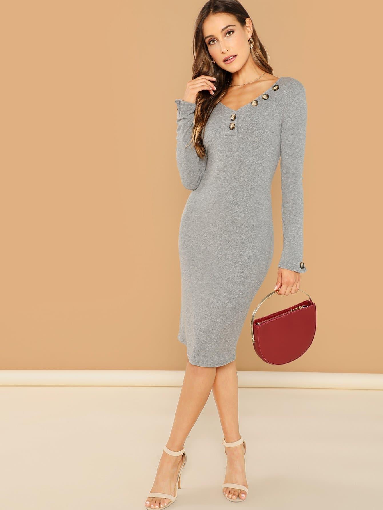 Купить Облегающее вязанный платье на пуговицах, Anna Herrin, SheIn