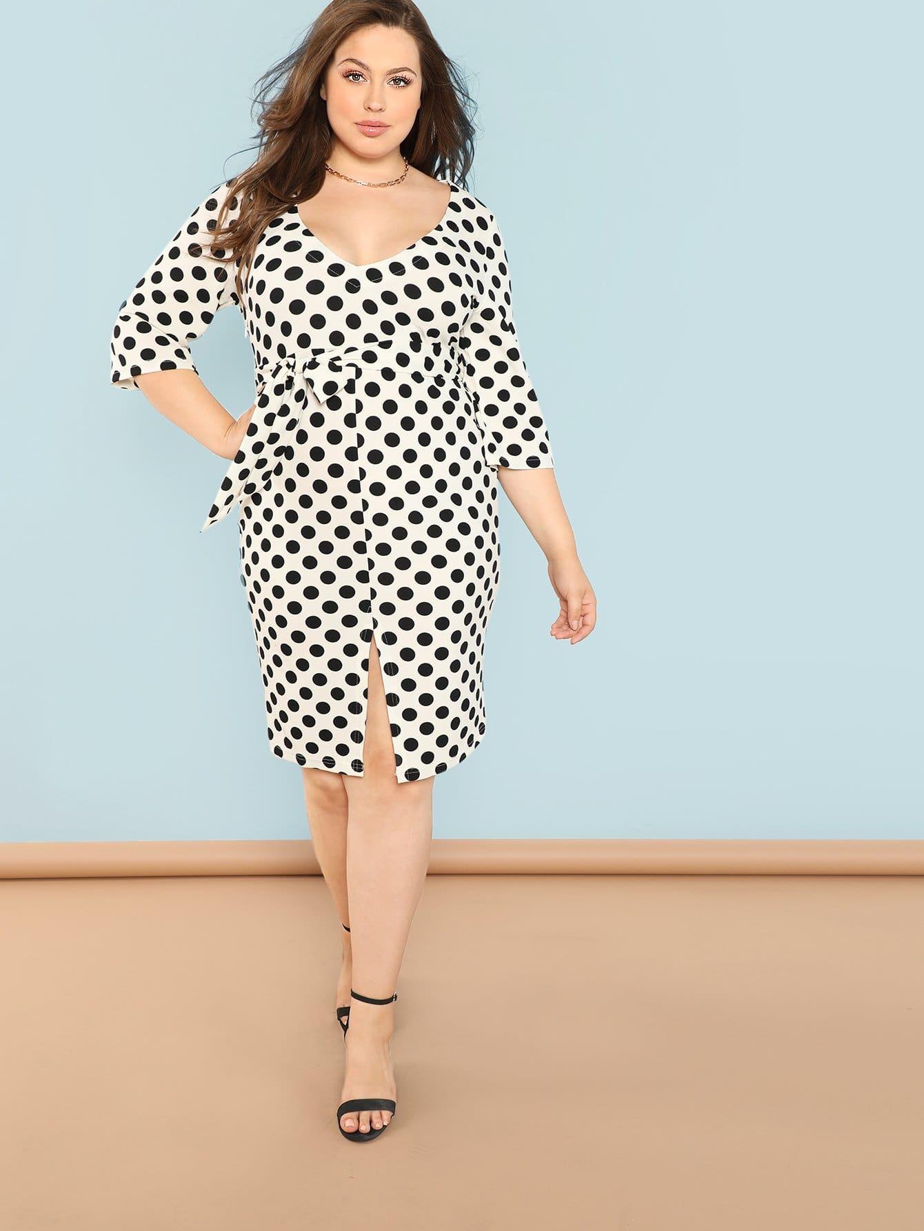 Плюс размеры разделение платье в горошек с поясом