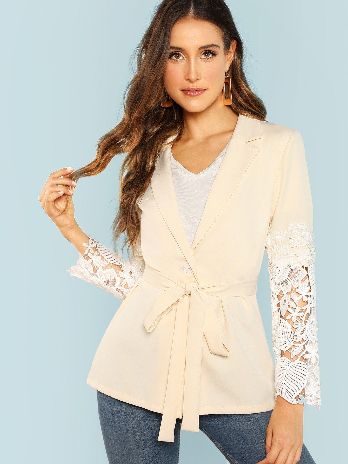f9a91c5dde1 Lace Sleeve Belted Blazer   MakeMeChic.COM