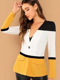 Cut and Sew Single Button Blazer