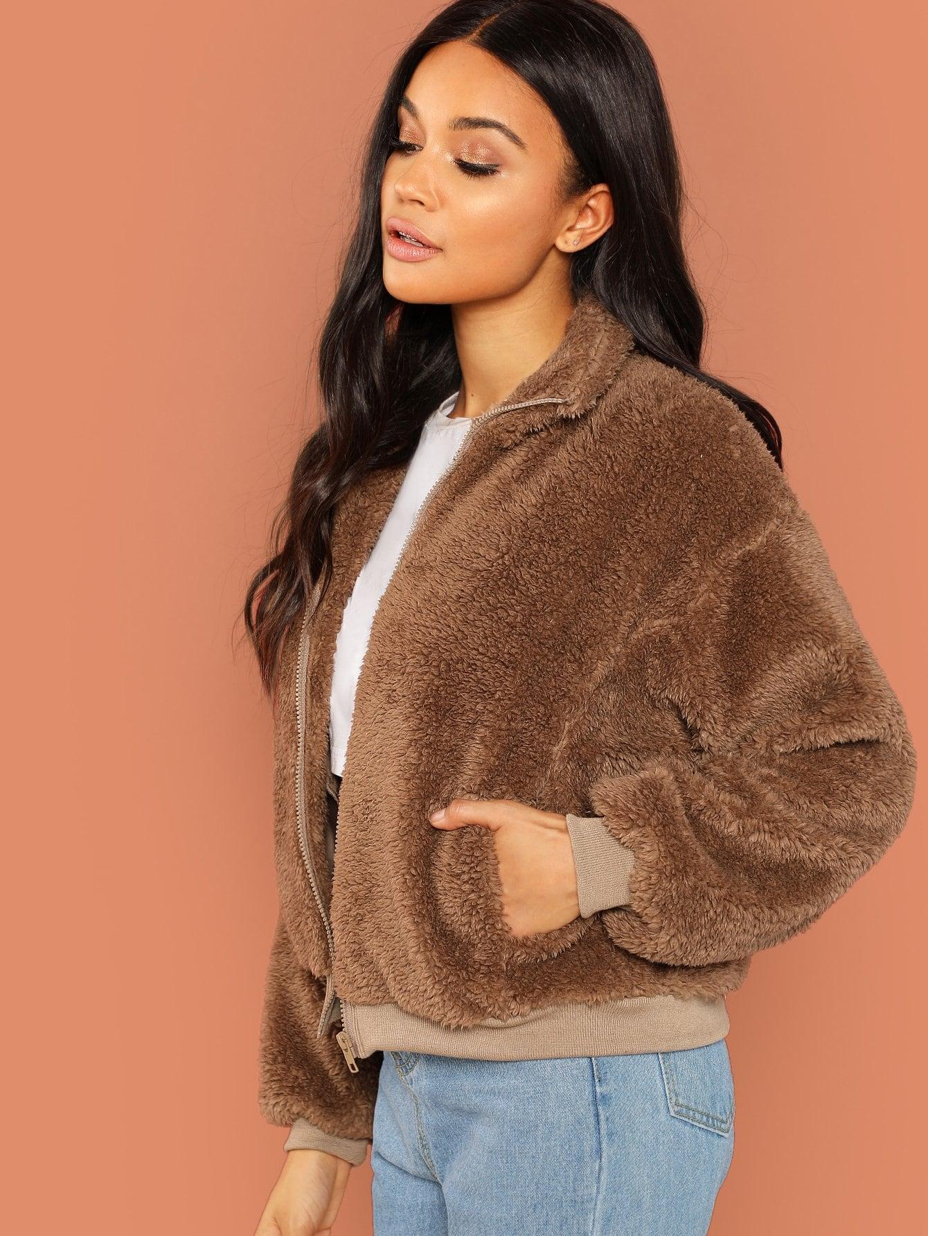 Купить Простое пальто Teddy с застёжкой молния, Juliette, SheIn