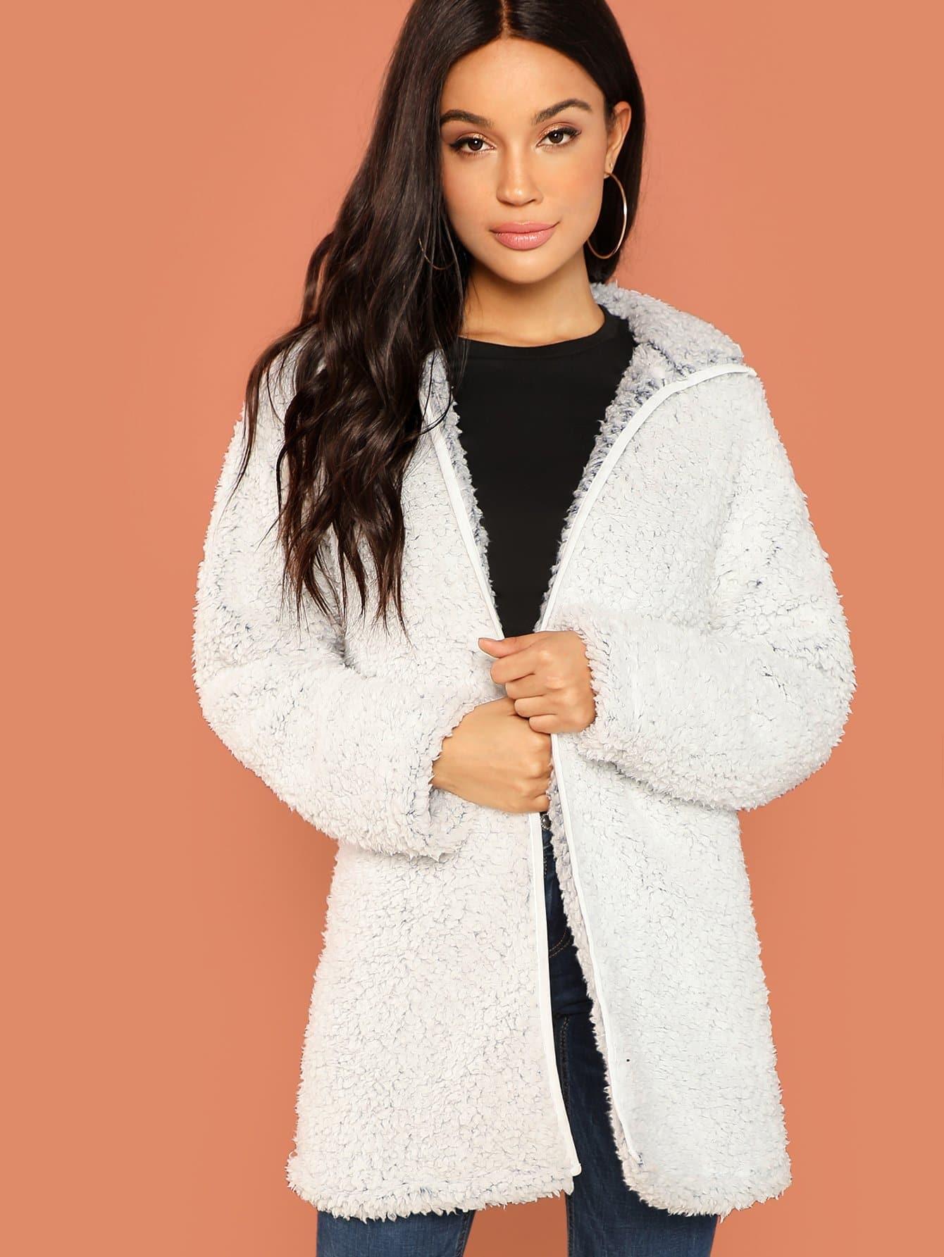 Купить Тедди пальто на молнии, Juliette, SheIn
