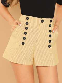 Double Button Embellished Slant Pocket Striped Shorts