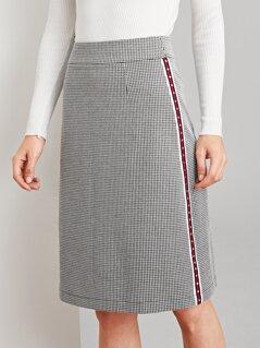 Studded Striped Tape Side Houndstooth Skirt