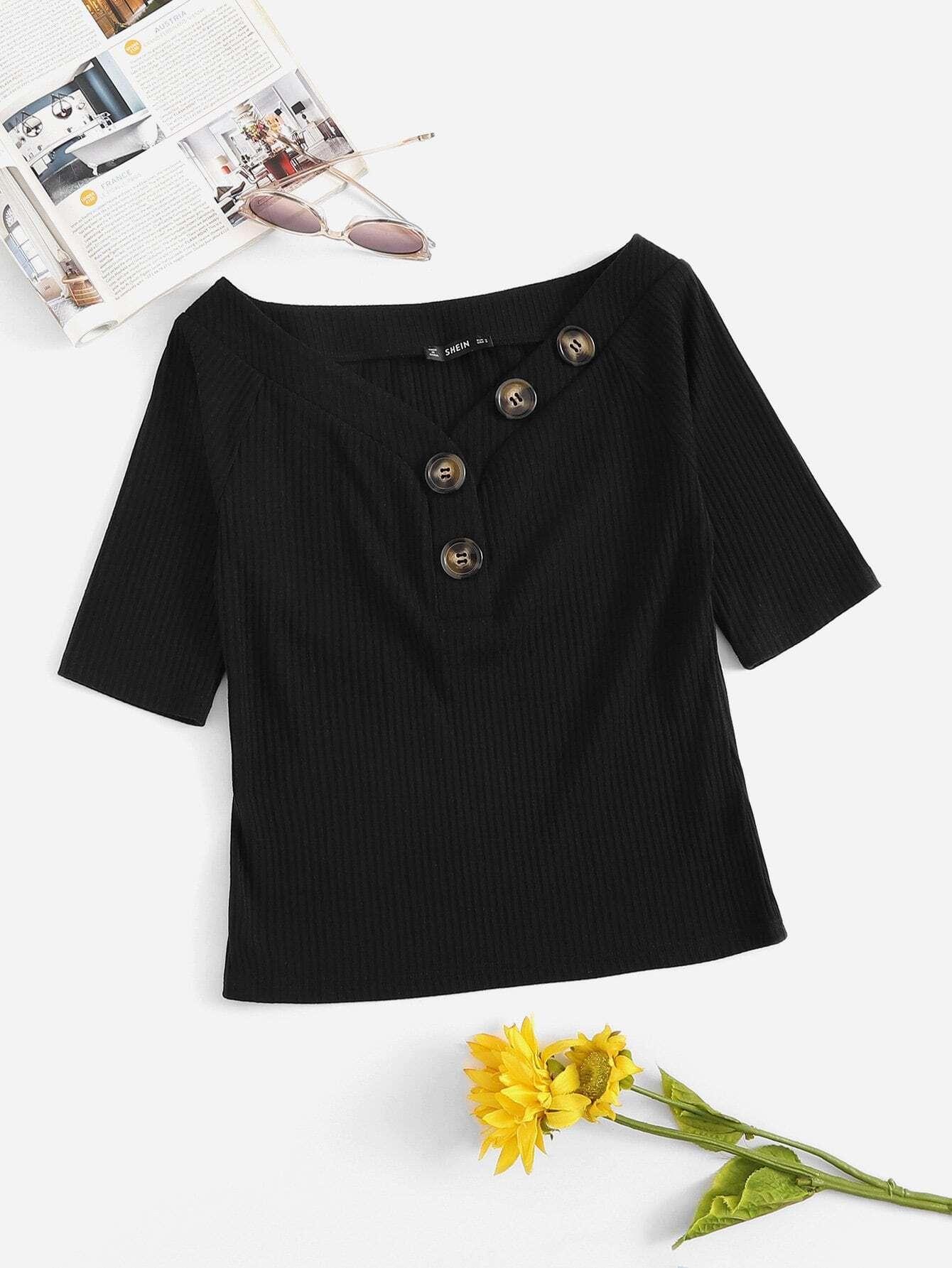 Купить Вязаная футболка с рельефными узорами и с украшением пуговицы, null, SheIn