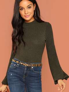 Ribbed Knit Bell Sleeve Top