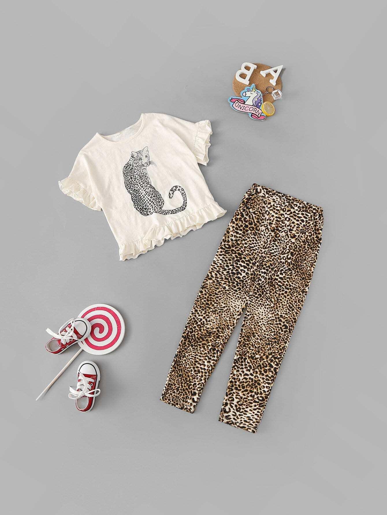 С животным принтом блузка и леопардовые брюки комплект для девочек