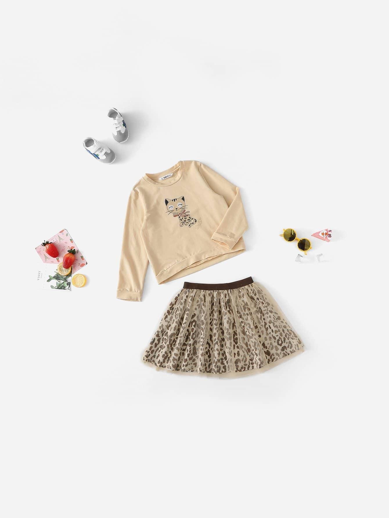 Для девочек топ с принтом кота и леопардовая юбка комплект