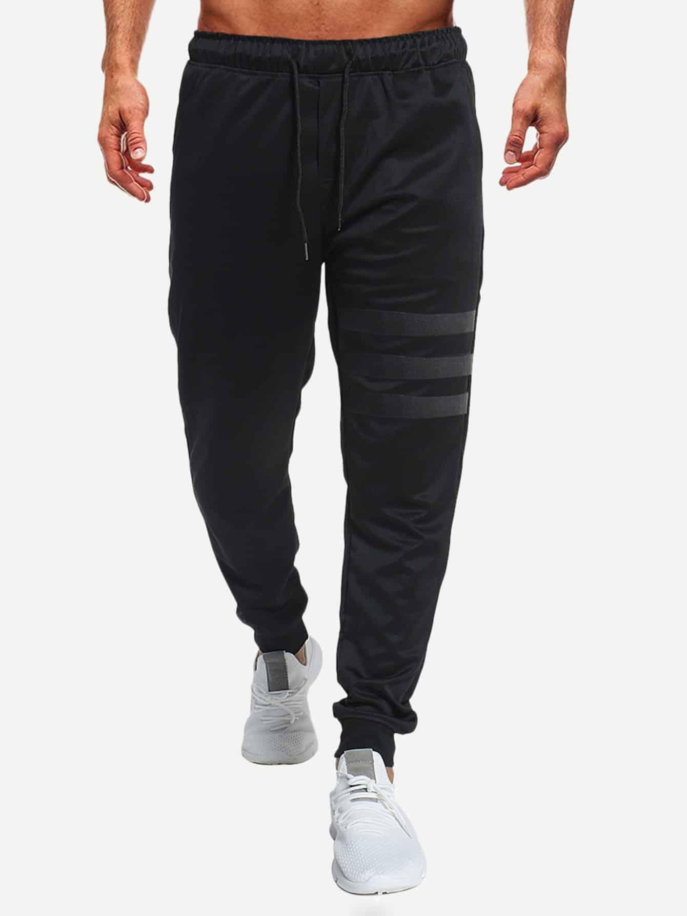 Купить Мужские брюки с басоном эластичным, null, SheIn