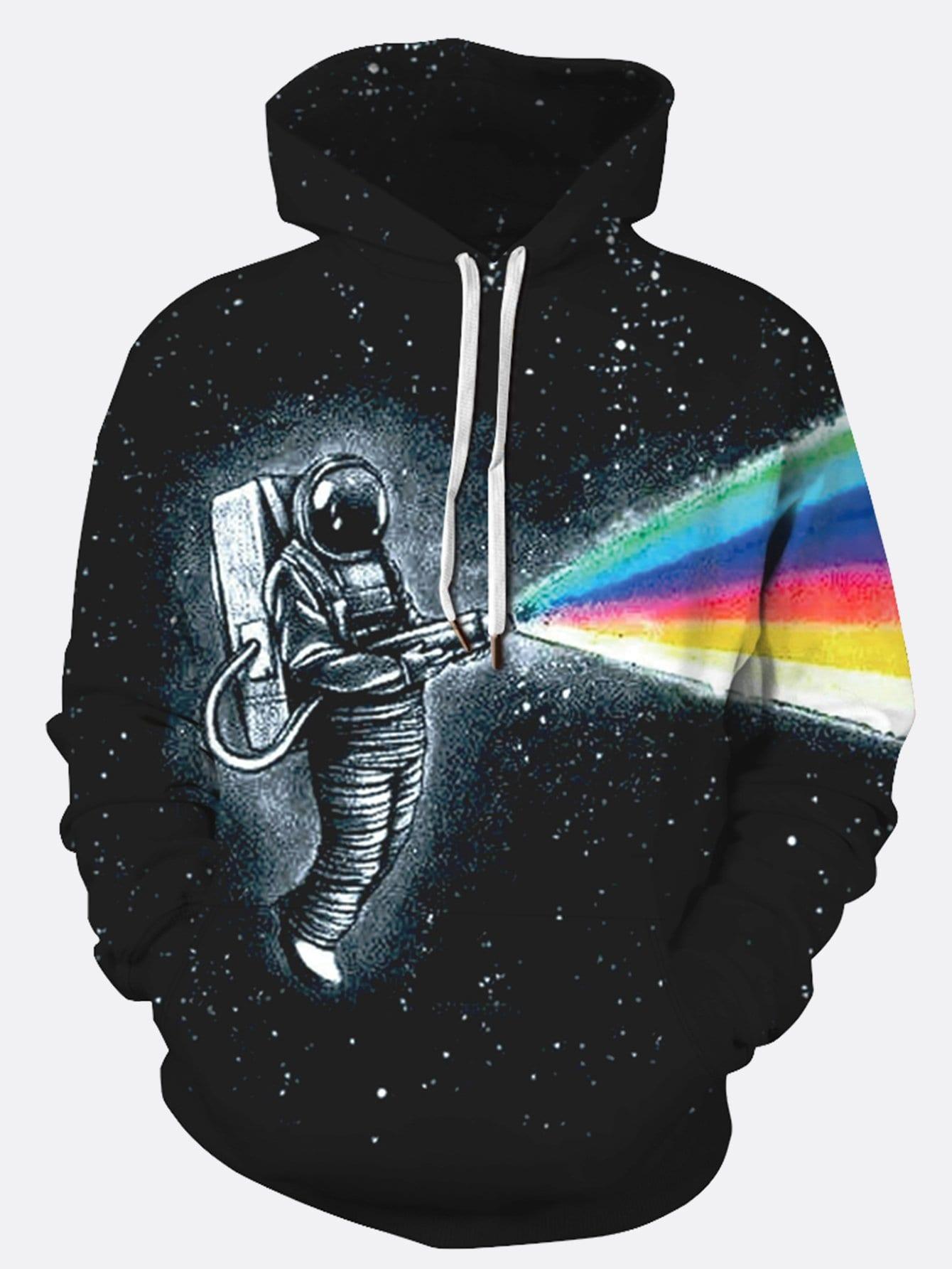 Фото - Мужский свитшот с капюшоном и принтом 3D астронавта от SheIn черного цвета