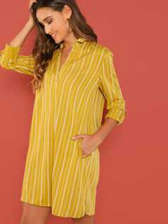 Rolled Up Sleeve Pocket Patched Dress