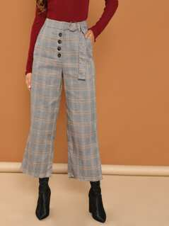 Slant Pocket Plaid Palazzo Pants