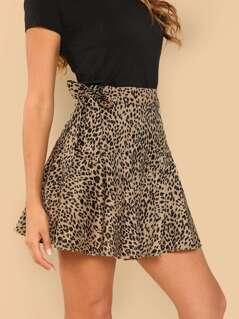 Knot Side Leopard Print Skirt
