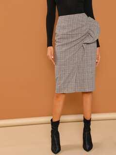 Ruffle Embellished Overlap Plaid Skirt