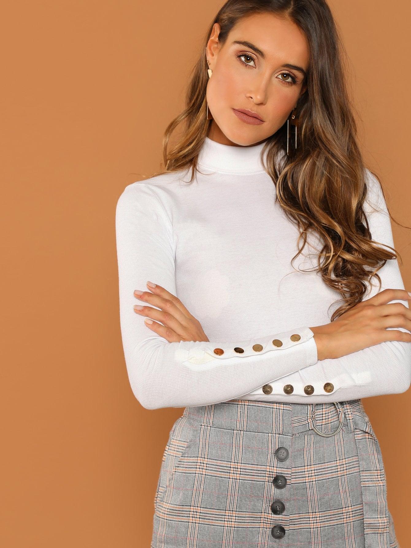 Купить Облегающая футболка с пукавичнами рукавами, Anna Herrin, SheIn