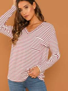 Single Pocket Striped T-shirt