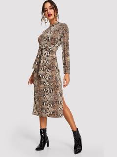 Mock Neck Snake Print Dress