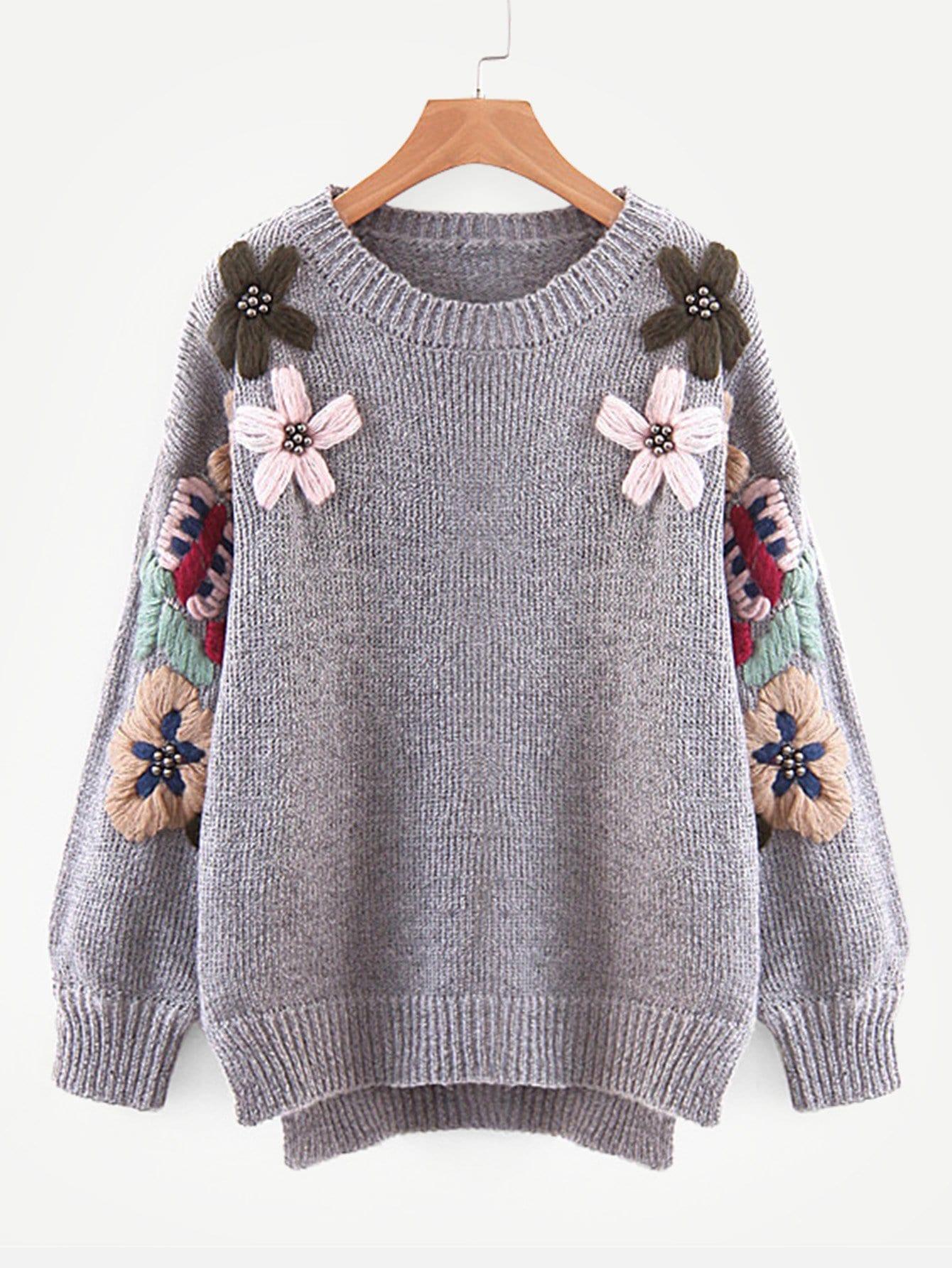 Фото - С бисером цветочная вышивка свитер от SheIn серого цвета