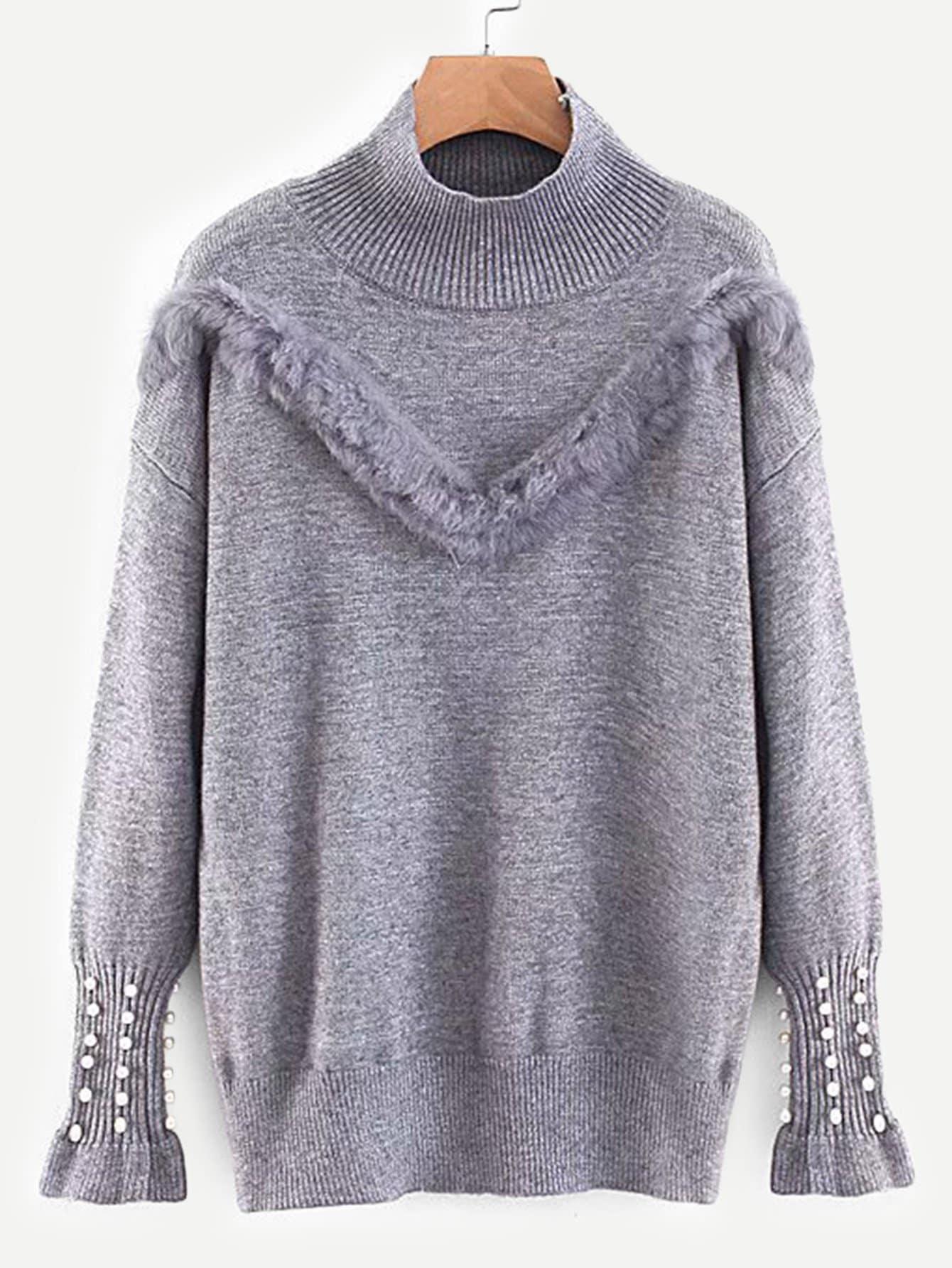 Купить Контрастный свитер с искусственным мехом, null, SheIn