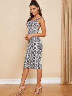 Snake Skin Print Backless Dress