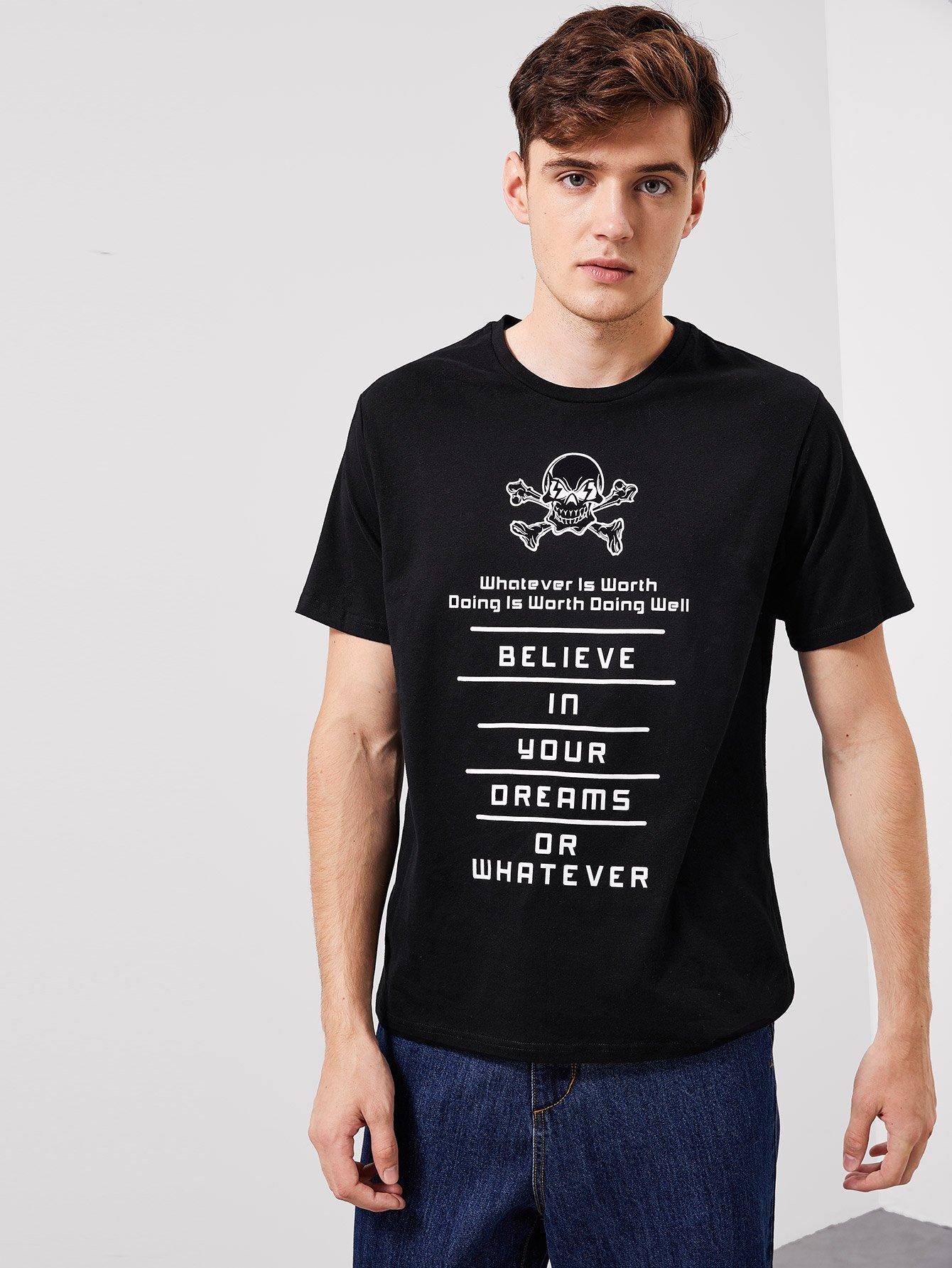 Купить Мужская футболка с коротким рукавом и текстовым принтом, Jan, SheIn