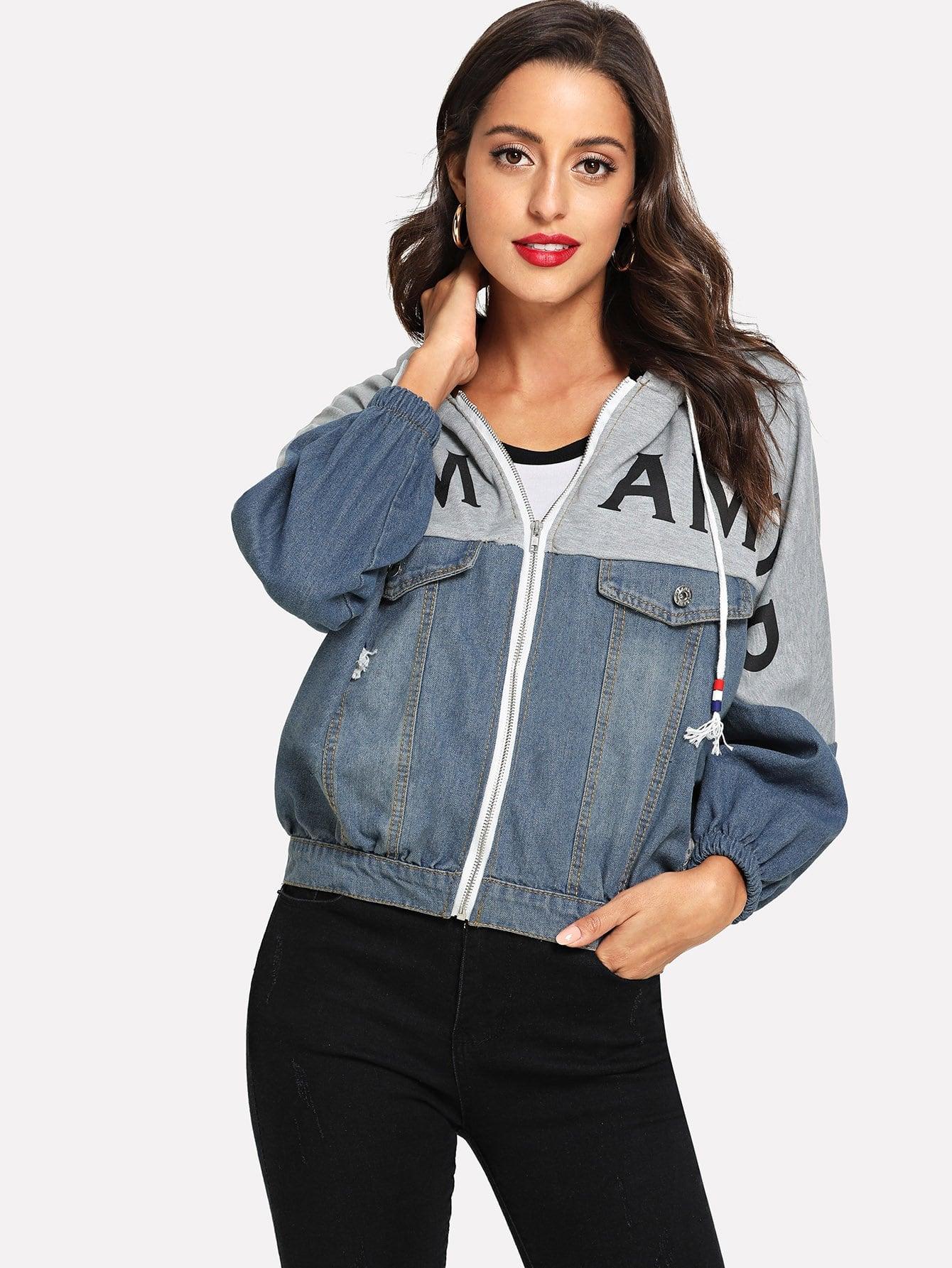 Купить Рваная джинсовая ветровка с кулиской и принтом букв, Mary P., SheIn