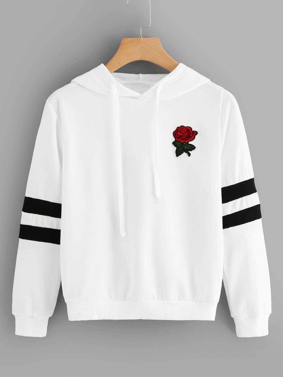 玫瑰 拼布 條紋 袖子 束帶 連帽衫