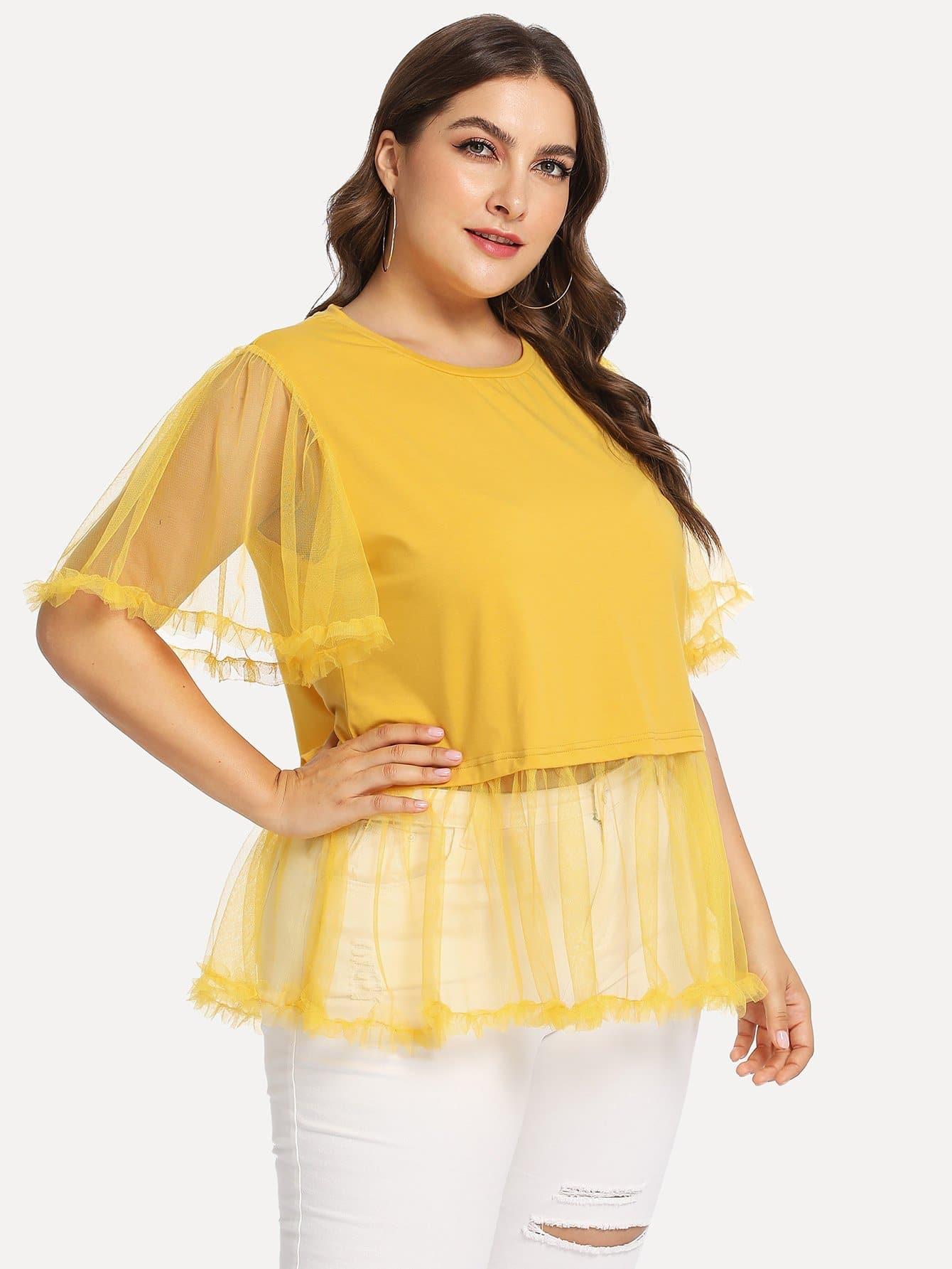 Купить Большая прозрачная блузка с рукав-колоколами, Franziska, SheIn