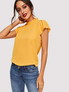 Ruched Mock Neck and Keyhole Back Top