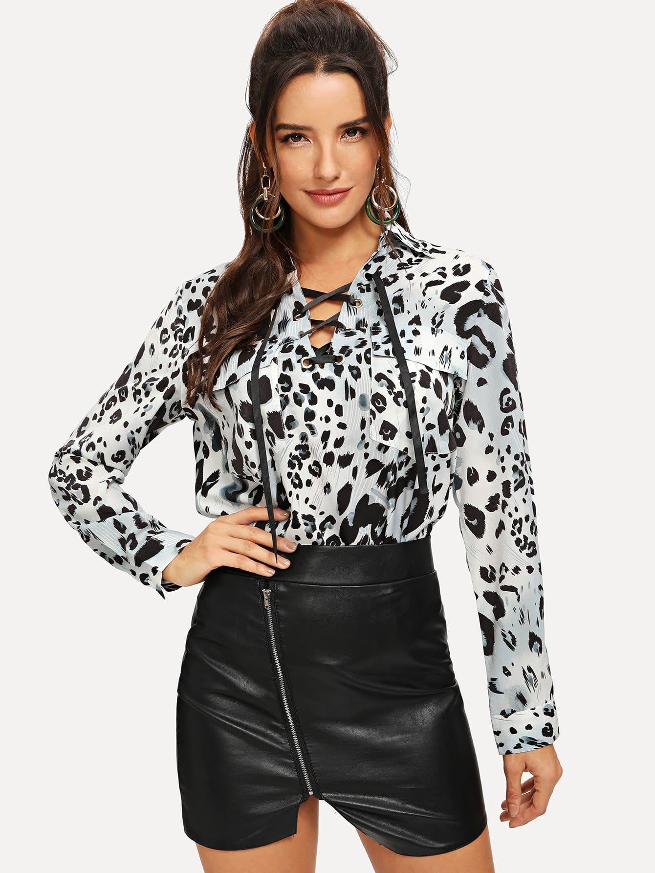 Фото - Леопардовая блузка с шнурками от SheIn цвет чёрнобелые