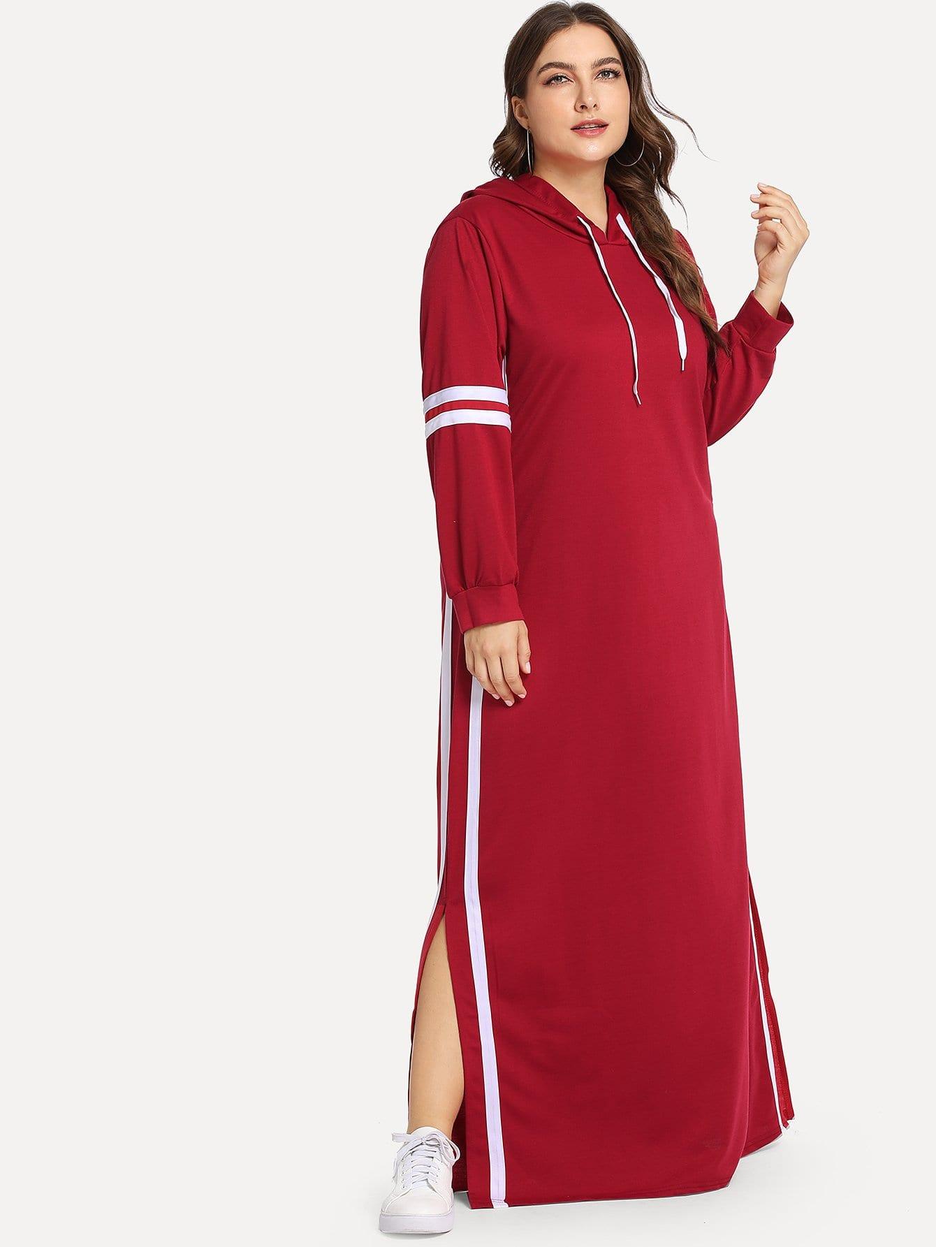 Фото - Большое платье с вырезом и контрастными полосами от SheIn цвет бургундия