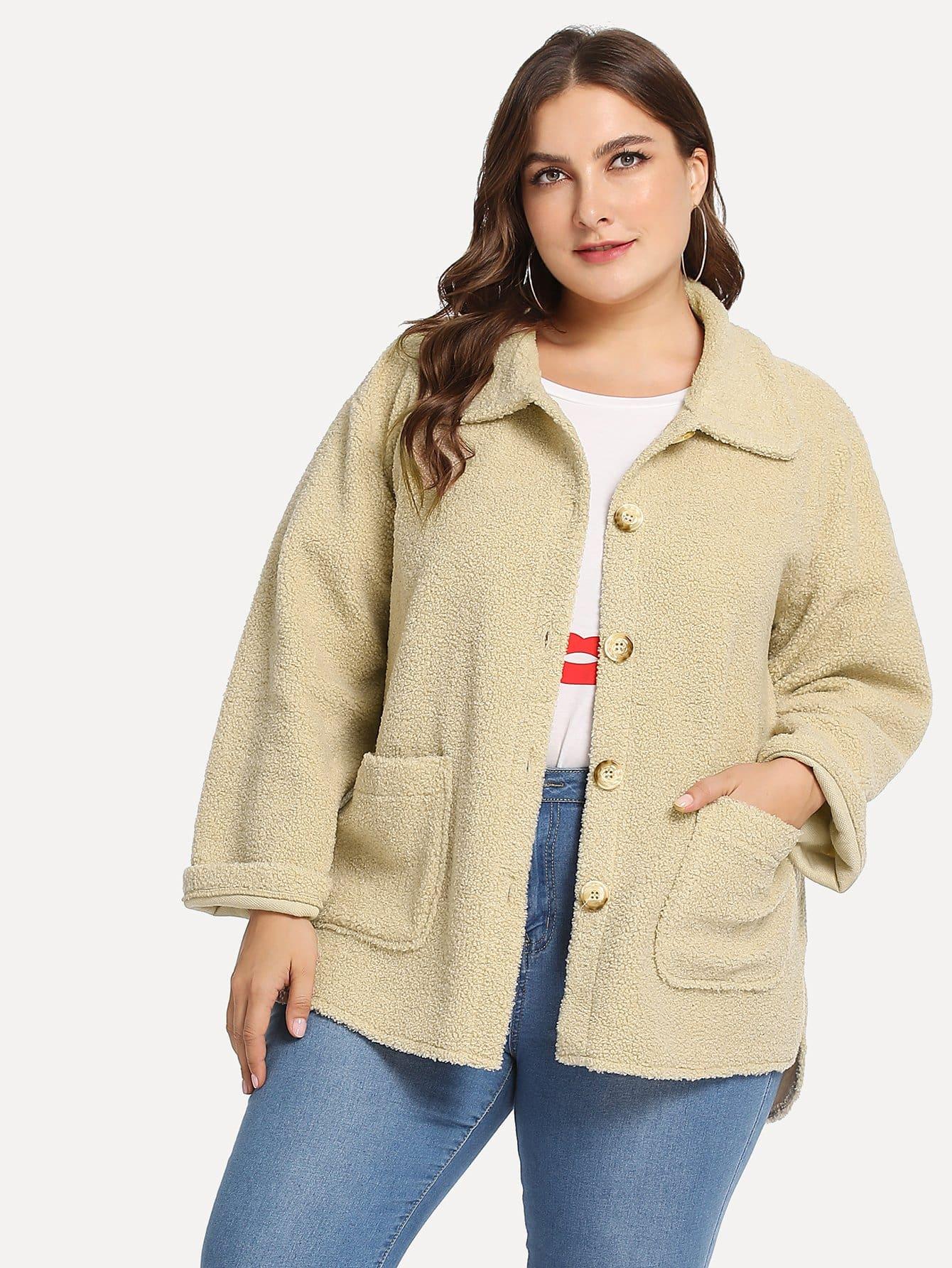 Фото - Большое пальто тедди с двумя кармана от SheIn цвета хаки