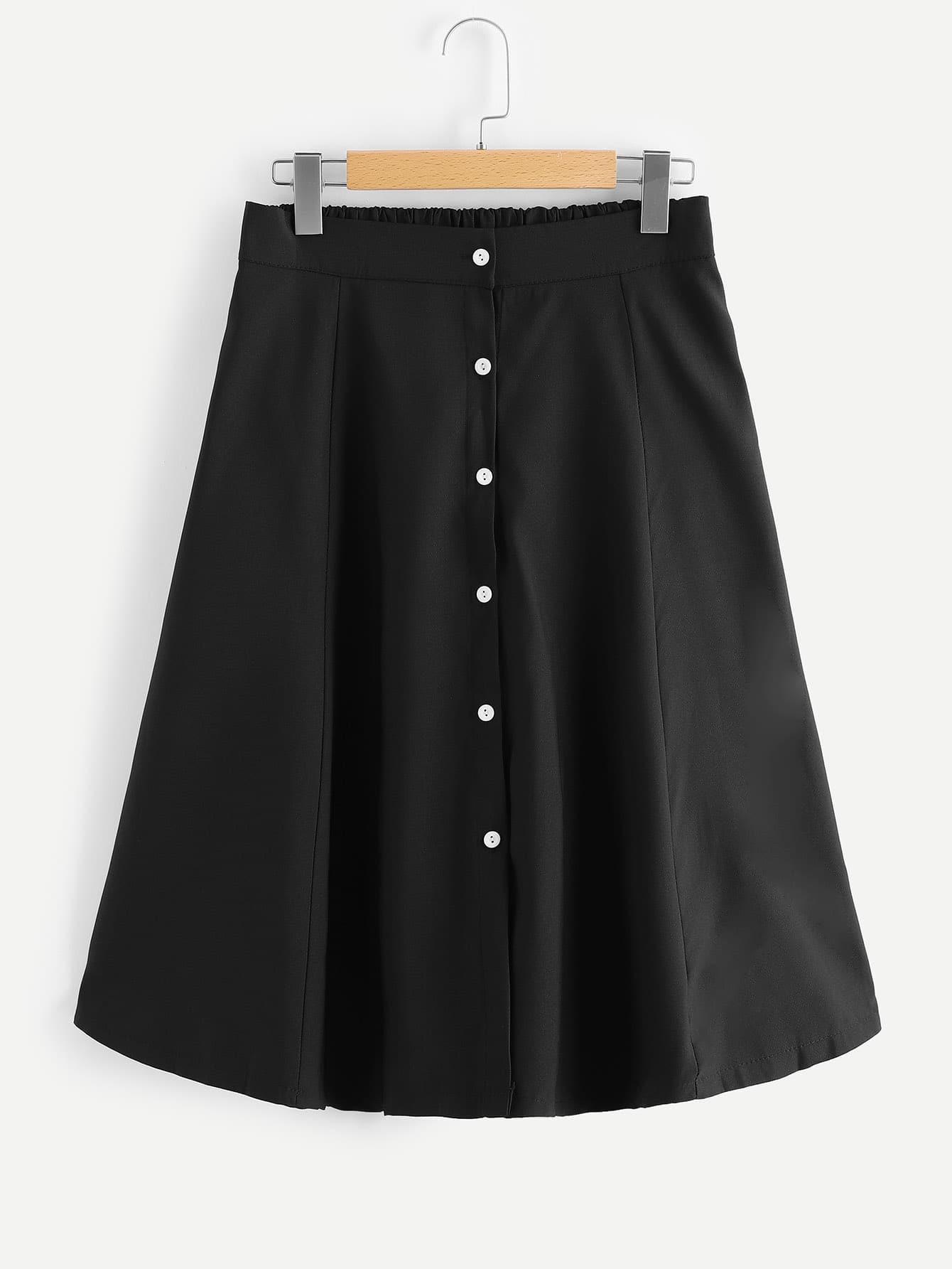Купить Большая простая юбка с украшением пуговицы, null, SheIn