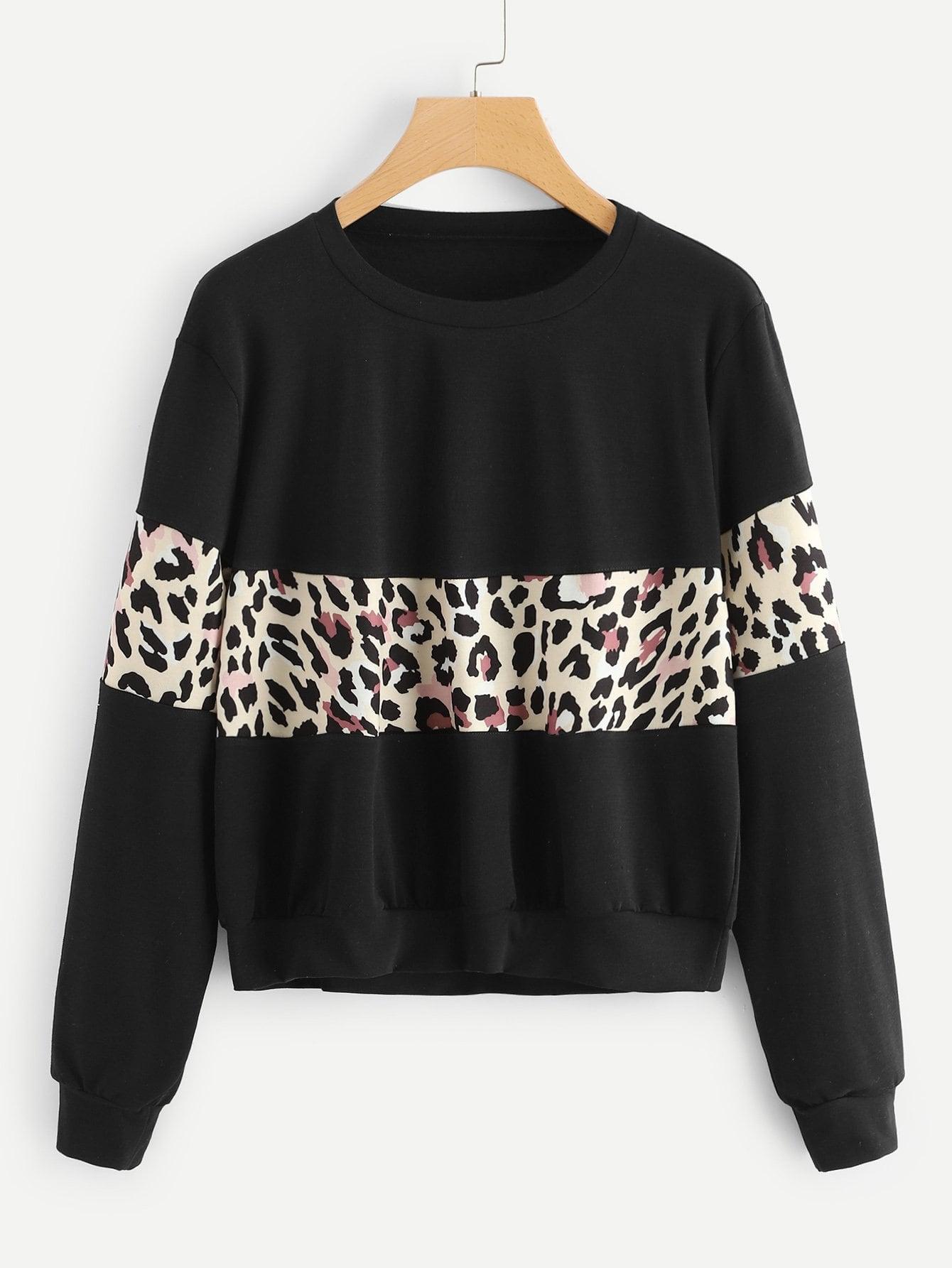 Фото - Леопардовый контрастный свитшот от SheIn черного цвета