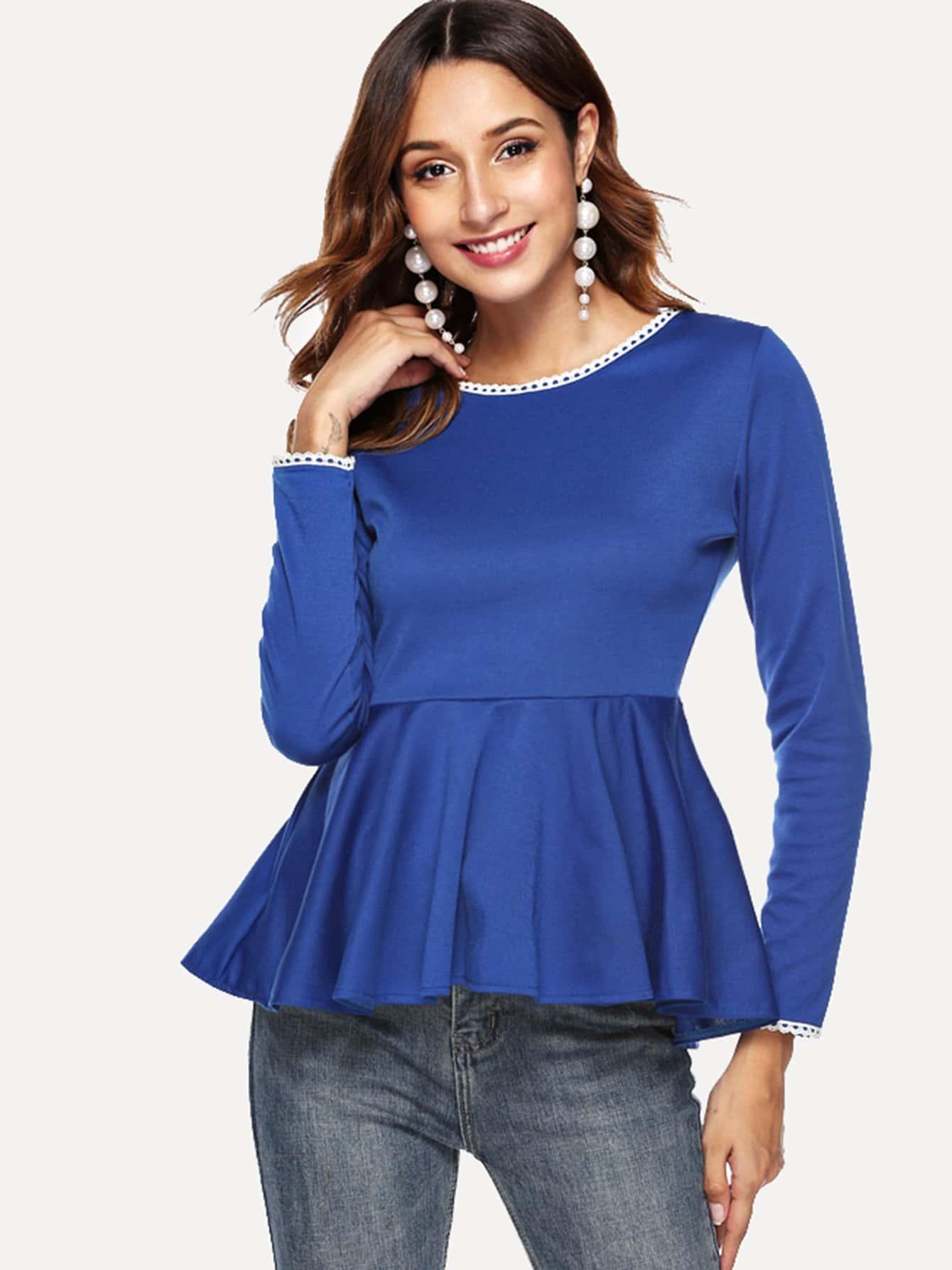 Фото - Асимметричная блуза с застёжкой молния от SheIn синего цвета