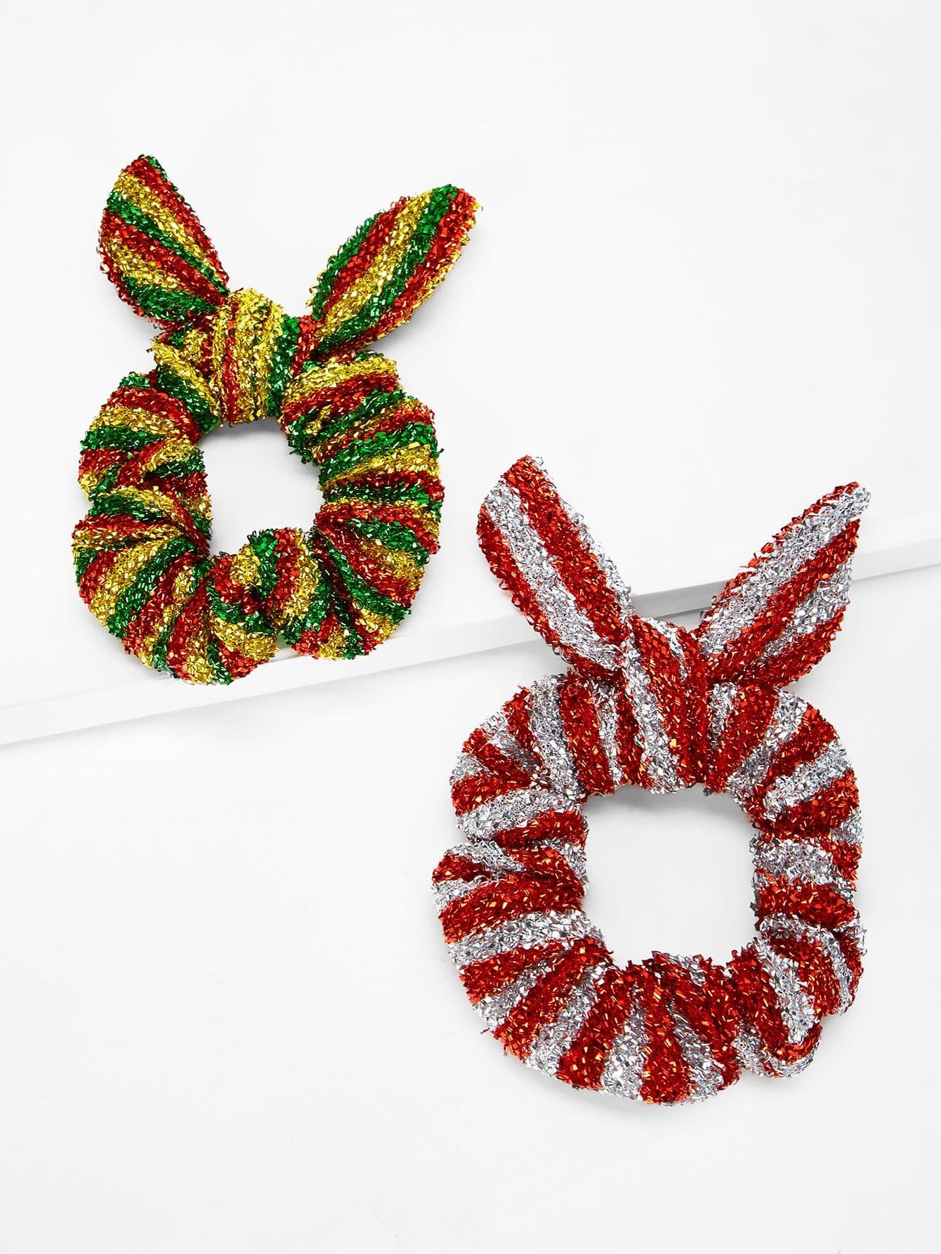 Купить 2шт.Рождественские девушки резинки для волос с бантом, null, SheIn